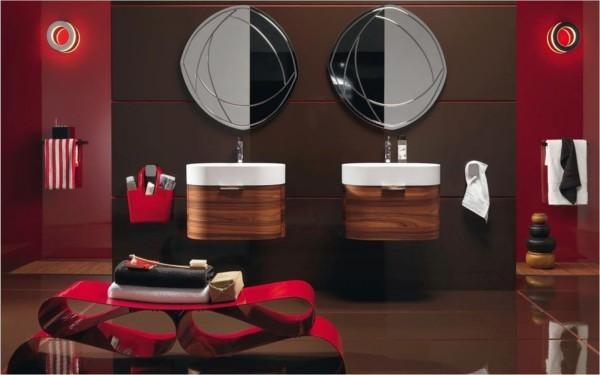 mehrere roten designermöbel badezimmer gestaltungsideen