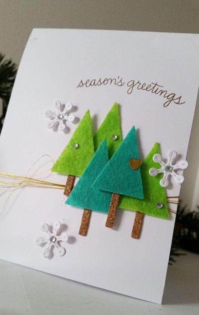 mehrere verschiedene baumchen weihnachtskarten basteln