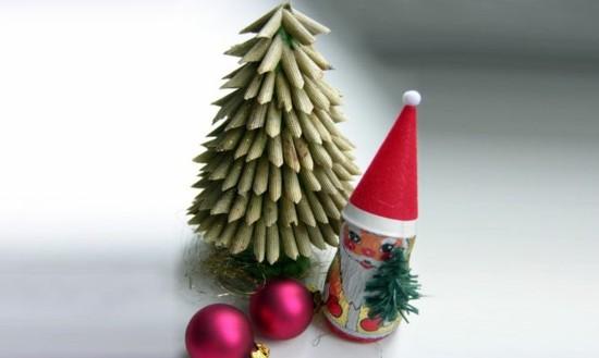 mini tannenbaum basteln mit nudeln zu weihnachten