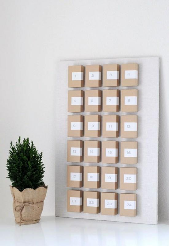 minimalistische ausgefallene adventskalender selber basteln
