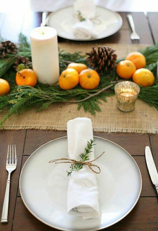 minimalistische tischdeko winter elegant