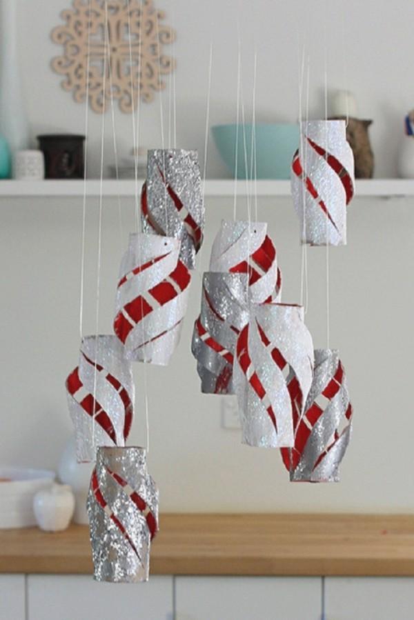 ausgefallene weihnachtsdeko selber machena aus klopapierrollen