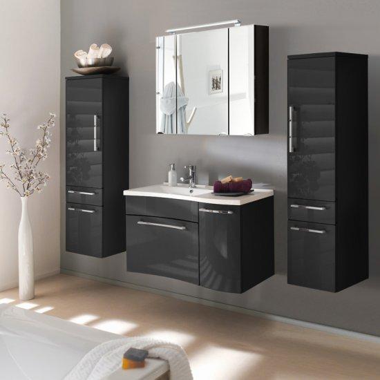 modernes badmöbel set schwarz hochglanz