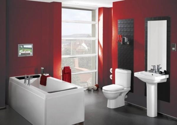 modernes dunkelrot badezimmer gestaltungsideen