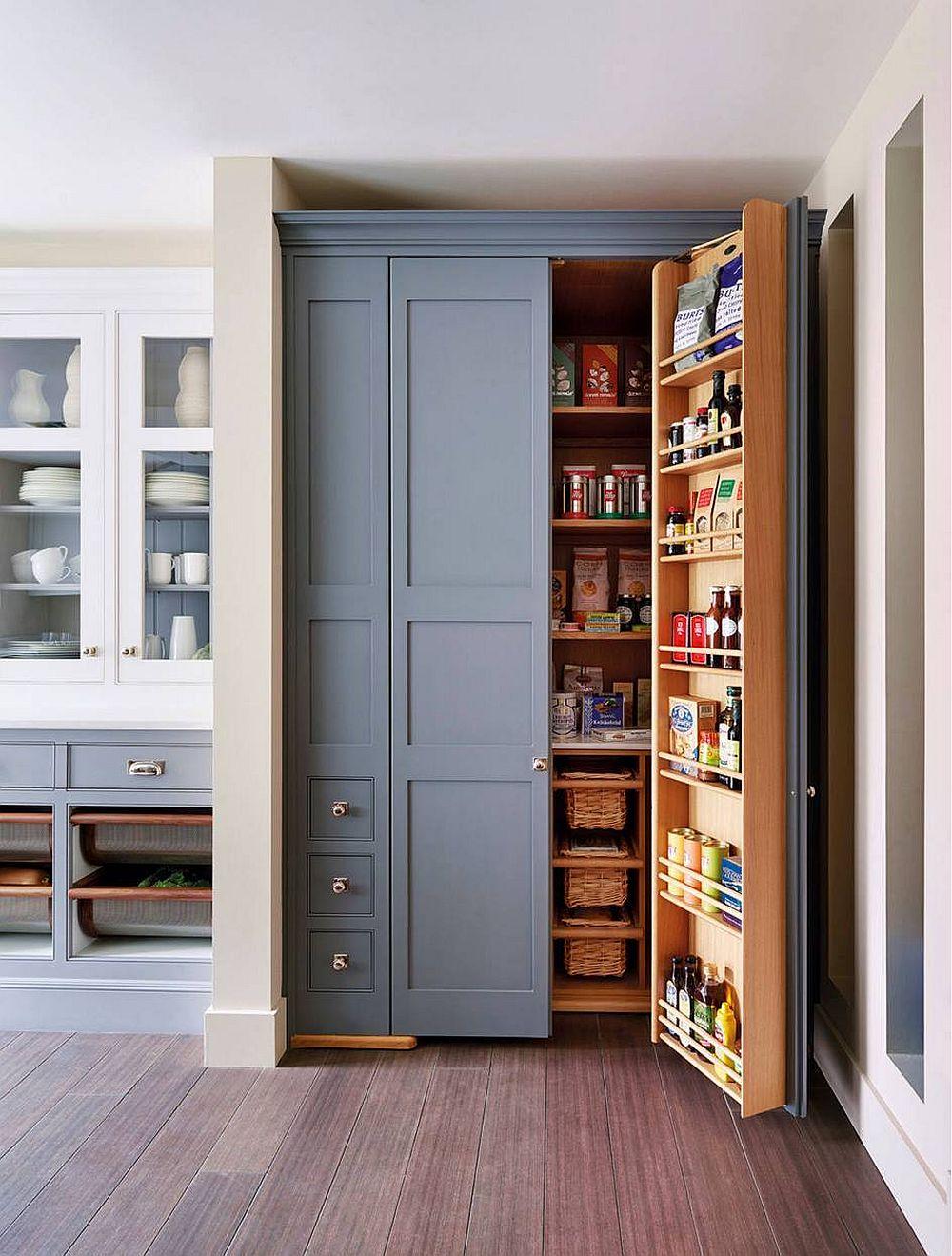 pantry küche grauer schrank mit staufläche
