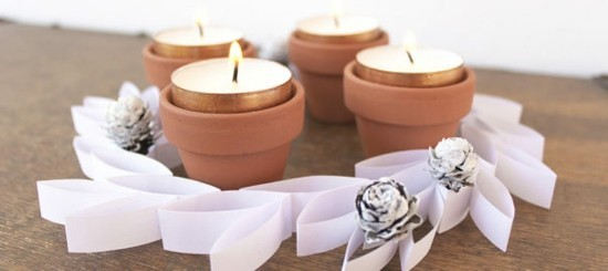 papier keramik adventskranz selber basteln