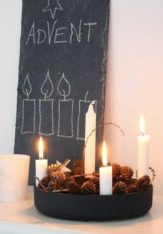 puristische weihnachtsdeko adventskranz selber basteln