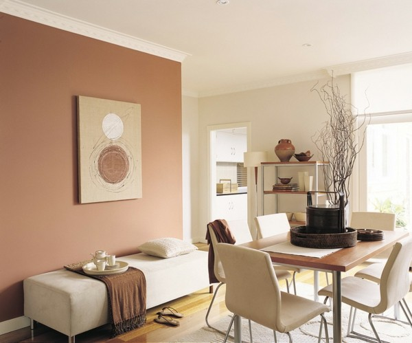 rosa brauntöne wandfarben im esszimmer