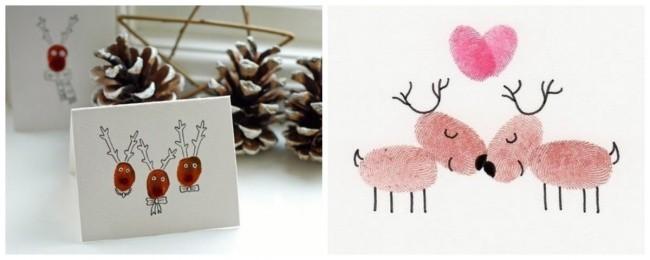 rot weisse gestaltungsidee weihnachtskarten basteln