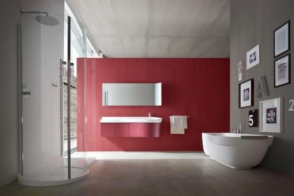 rote akzentwand badezimmer gestaltungsideen