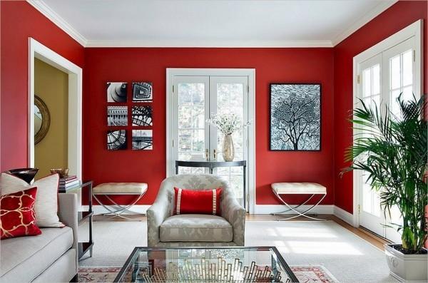 rote dekokissen und wände farben wohnzimmer