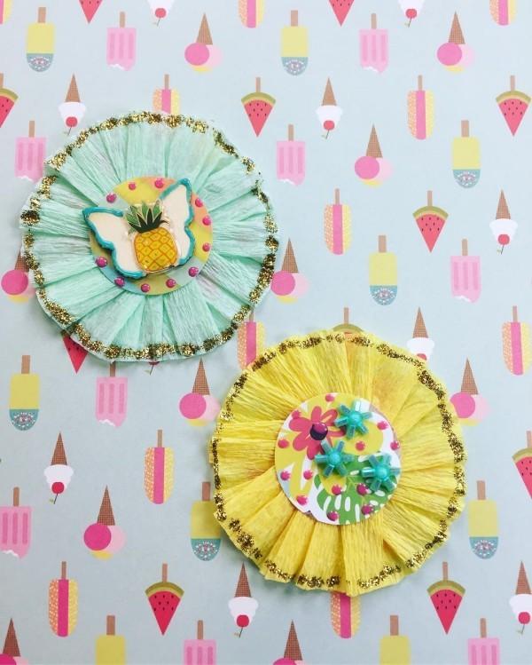 runde wanddeko ideen basteln mit krepppepapier