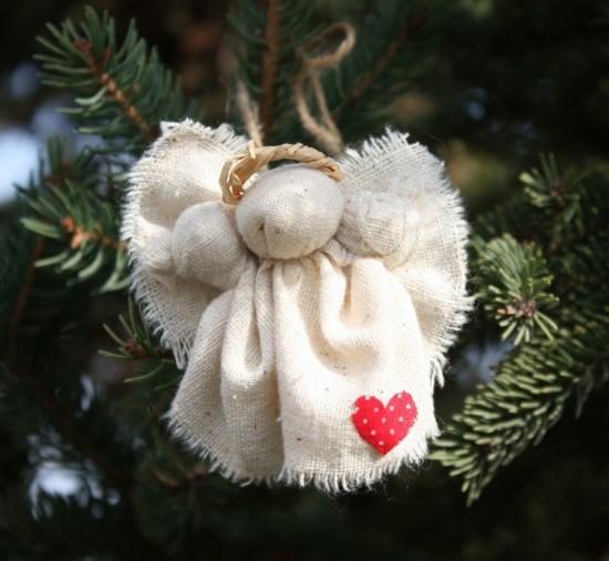 sackleinen engel basteln weihnachtsschmuck