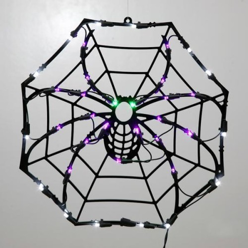 schöne Halloween Fensterdeko Spinnennetz Lichteffekt