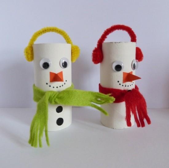 schneemann basteln mit klorollen weihnachtsdeko