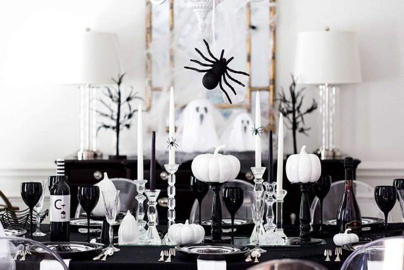 schwarz weiße ideen halloween deko