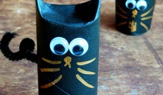 schwarze katze basteln mit klorollen halloween