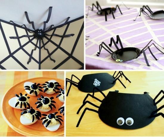 spinne basteln halloween deko ideen