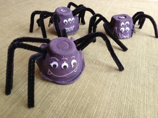 spinne basteln mit eierkarton zu halloween