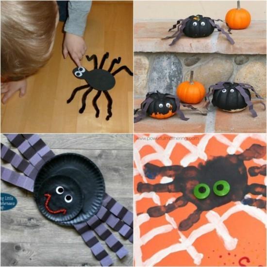 spinne basteln mit kindern zu halloween