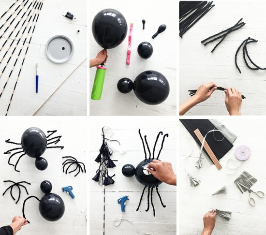 spinne basteln mit schwarzen ballons
