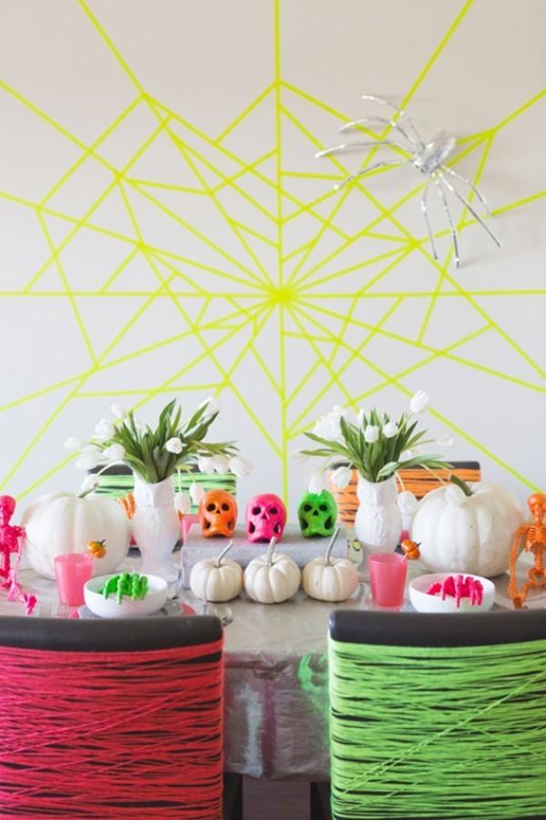 spinnengewebe in verschiedenen farben halloween deko
