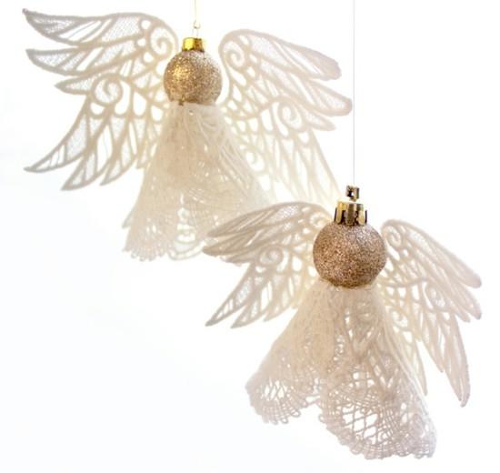 spitze weihnachtskugel engel basteln