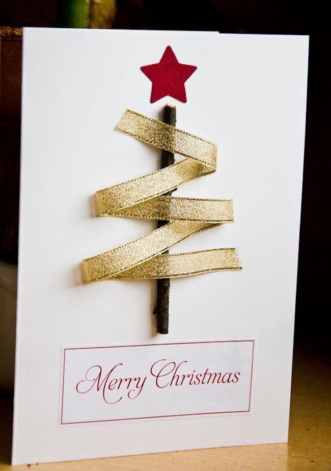 stilisierter tannenbaum weihnachtskarten basteln