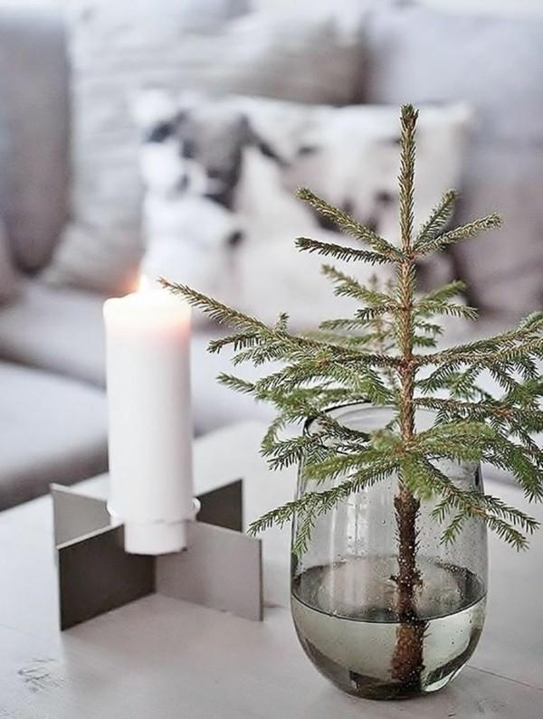 tannenbaum stumpenkerze tischdeko winter