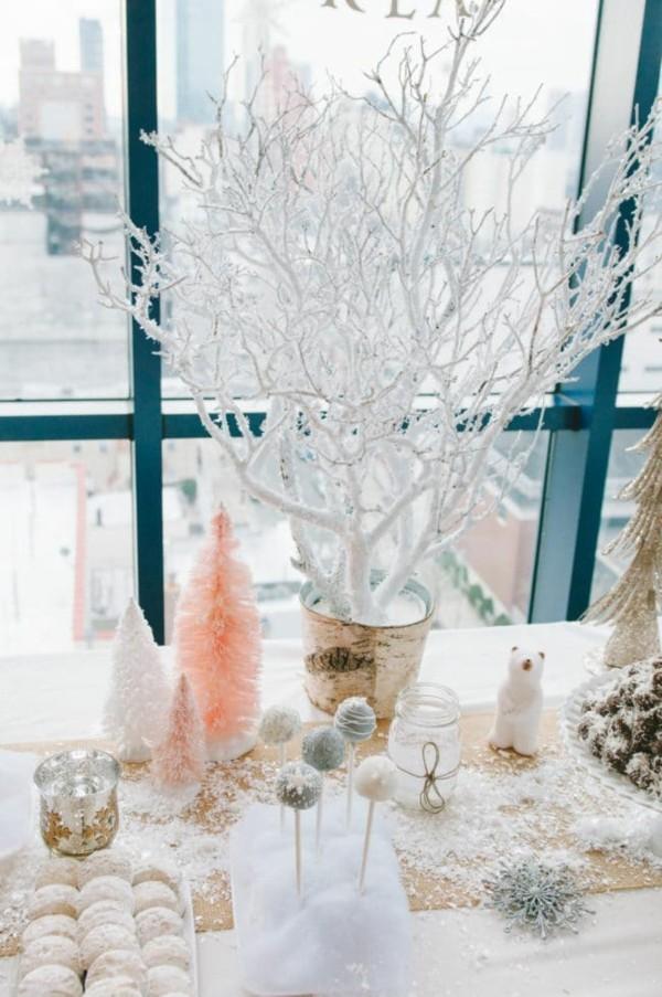 tischdeko winter buffet dekorieren