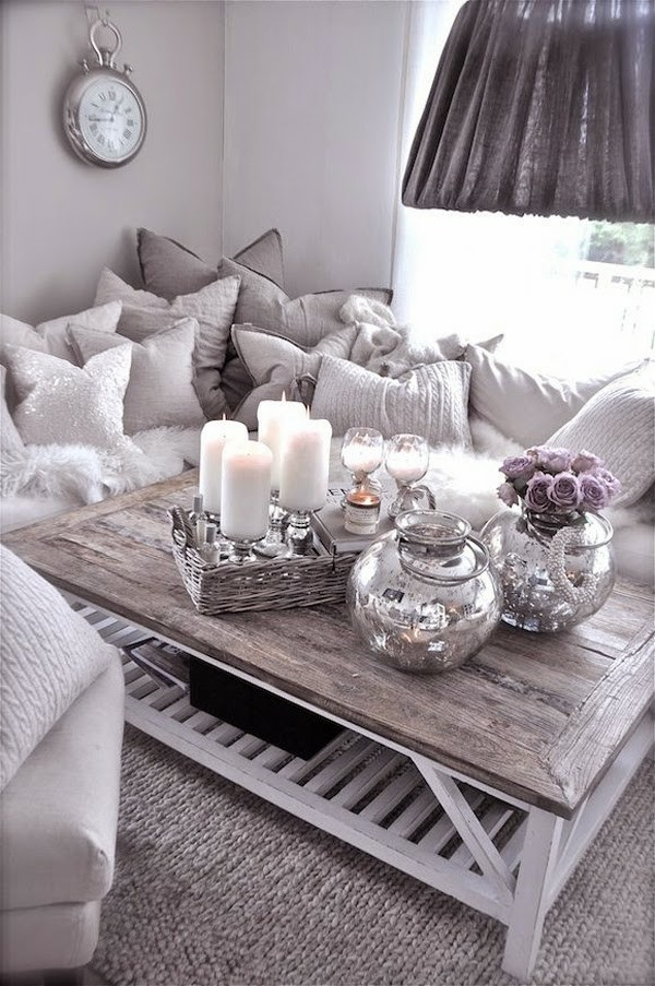 tischdeko winter couchtisch dekorieren
