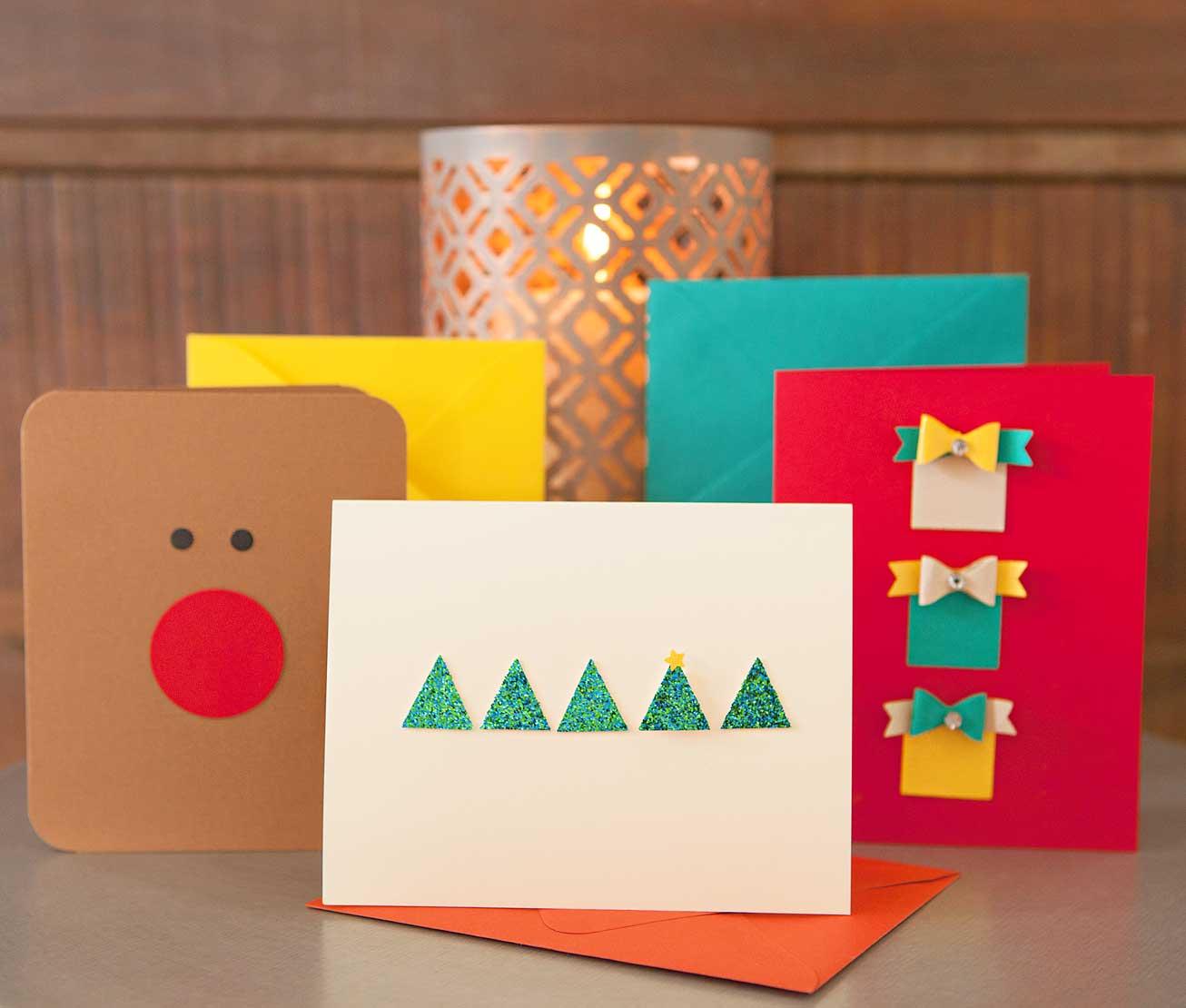 tolle aplikationen weihnachtskarten basteln