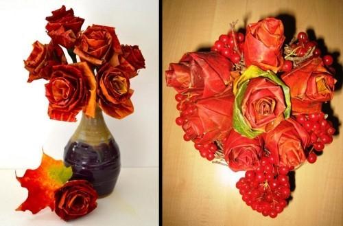 tolle rote rosen - basteln mit blättern