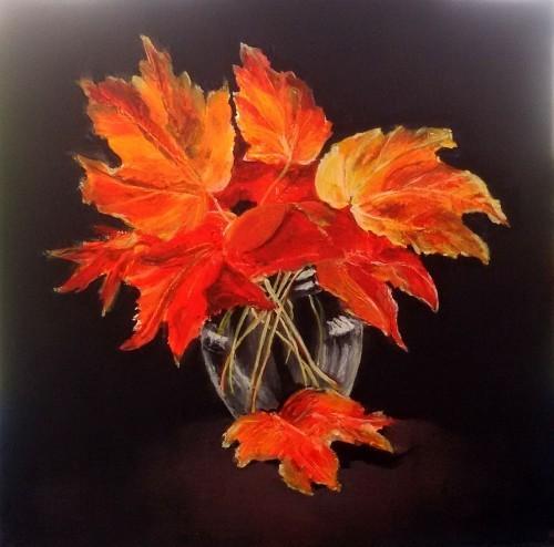 vase tischgestaltung basteln mit blättern