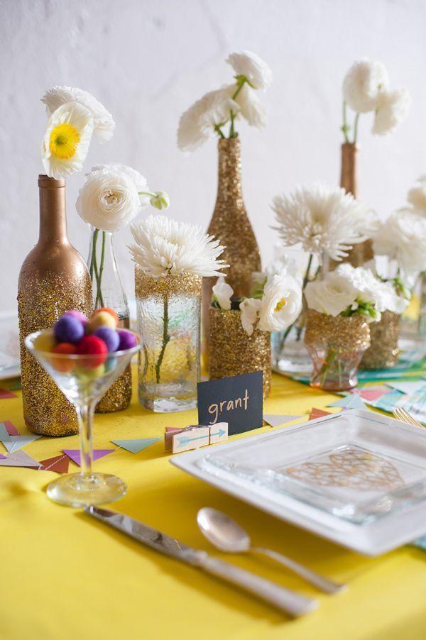 vergoldete flaschen deko ideen
