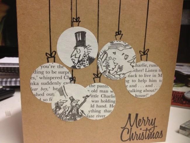 verschiedene bemale kugeln weihnachtskarten basteln