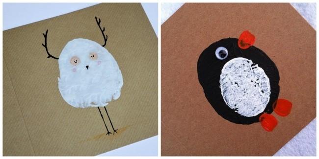 verschiedene tiere weihnachtskarten basteln