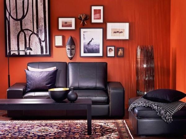 wand zwischen rot und orange farben wohnzimmer