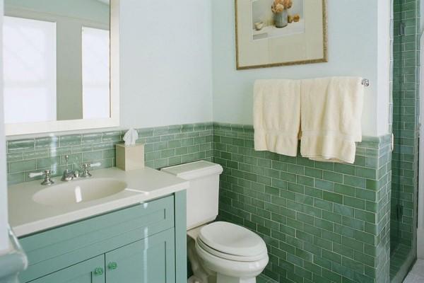 weiß und grün badezimmergestaltung