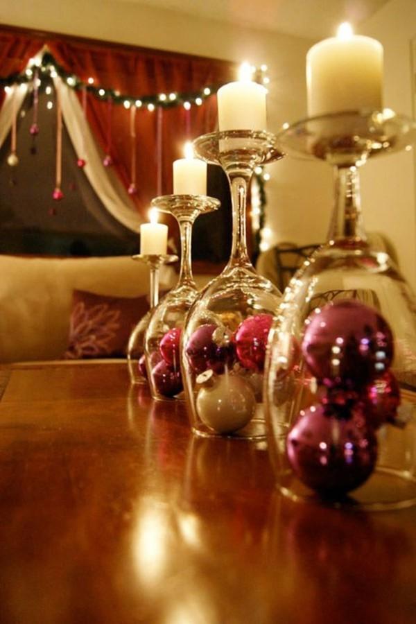 weihnachtenbastelideen gläser mit kugeln und kerzen