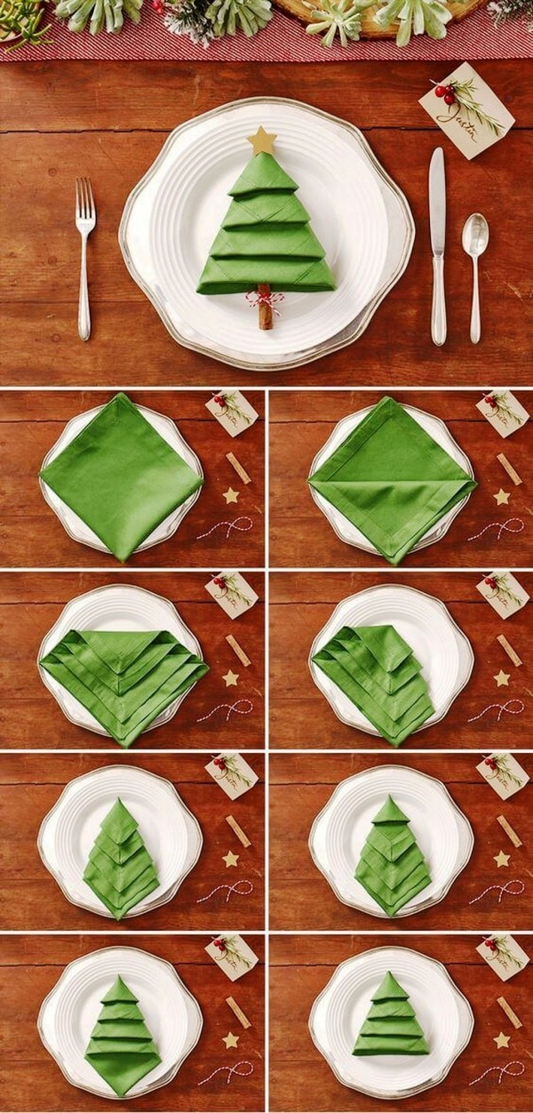 weihnachtliche Tischdeko falten