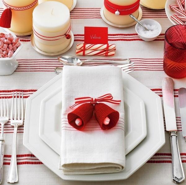 weihnachtliche Tischdeko glöckchen