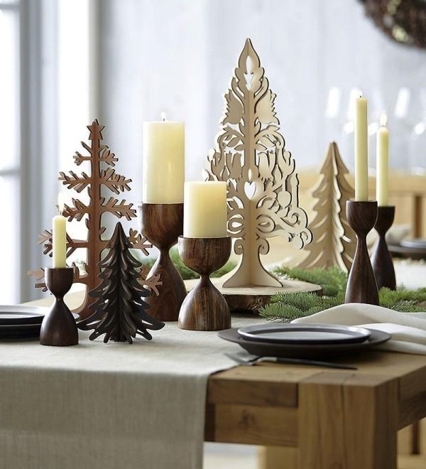 weihnachtliche Tischdeko holz bäume