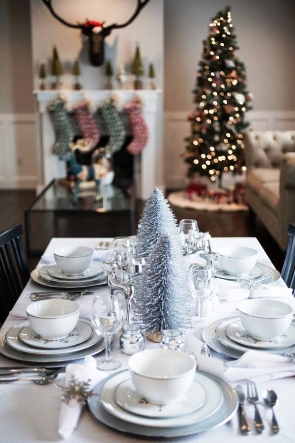 weihnachtliche Tischdeko kamin