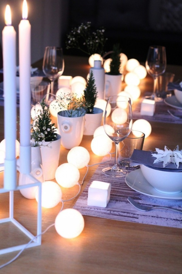 weihnachtliche Tischdeko lichterkette