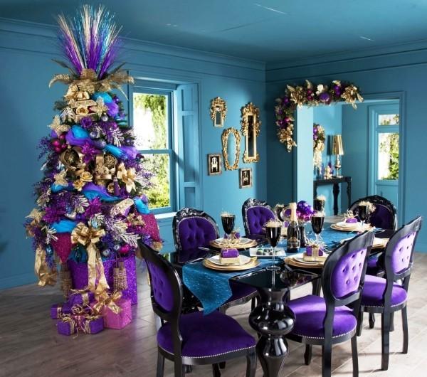 weihnachtliche Tischdeko lila luxus