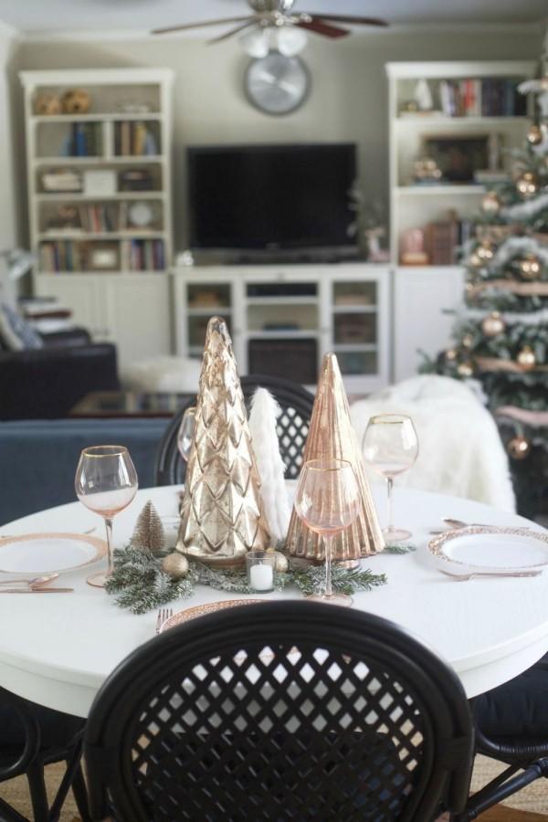 weihnachtliche Tischdeko rose gold modern