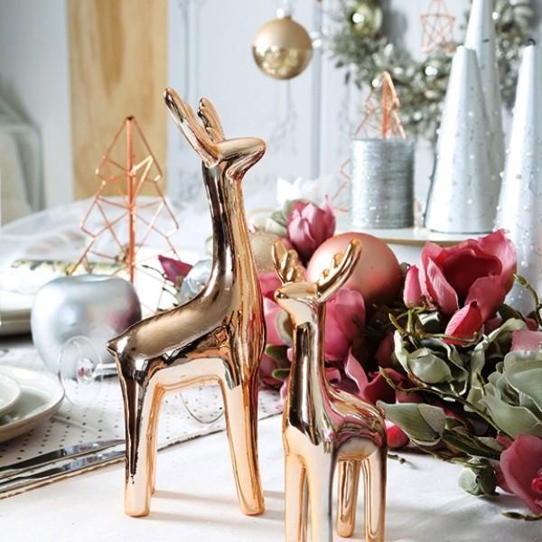 weihnachtliche Tischdeko rose gold rentier