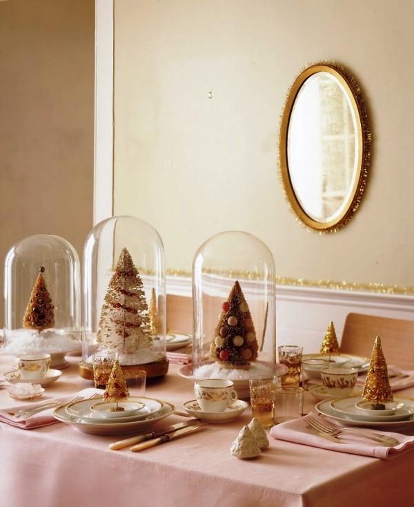 weihnachtliche Tischdeko rose gold