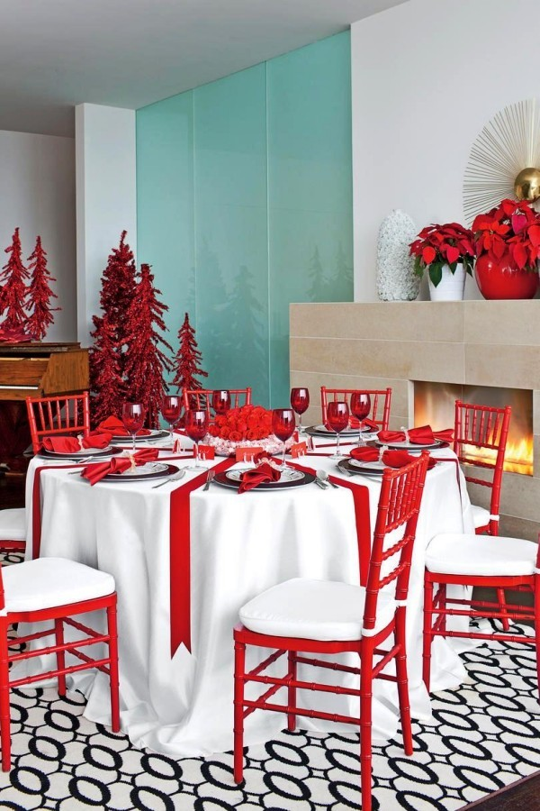 weihnachtliche Tischdeko rot weiß gesammt